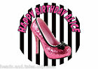 Pink Black Glitter Womens Shoe Cake Decoration icing sheet Birthday Party Cake