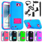 For Samsung Galaxy Note 2 3 4 Defender Kiskstand Phone Case Cover + Accessories