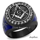 Men's Blue & Black Stainless Steel AAA CZ Masonic Freemason Ring Band Size 8-13