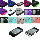 TUFF Hybrid Patterned Hard Silicone Protective Case Cover For Apple iPhone 4 4S