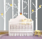 Birch Tree Wall Decal Forest Set with Owls Vinyl Sticker Removable Nursery Kids