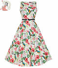 LADY VINTAGE 50's HEPBURN KINGFISHER floral DRESS WHITE