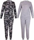 Womens Plus Size Camouflage Army Ladies Long Sleeve Top Joggers Pants Tracksuit