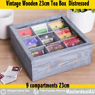 9 Compartment Wooden Tea Box Glass Top Storage Xmas GIFT Decor Black White Brown