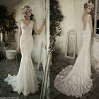 Custom Mermaid Cap Sleeve Backless Lace Wedding Dress Bridal Gown White Ivory