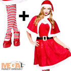 Mrs Santa Claus + Tights Ladies Fancy Dress Christmas Xmas Womens Adults Costume