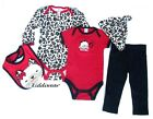 Baby girl 5 piece clothes set 0-3 3-6 months cotton 2 bodysuits leggings bib hat