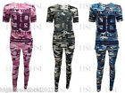 New Womens Ladies New York 98 Print Camouflage T Shirt Legging Tracksuit Pants