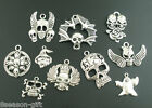 Gift Wholesale Mixed Silver Tone Halloween Gothic Charms Pendants
