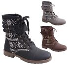 New Women's Tribal Stitched Boots Buckled Ankle Strap Black Brown Grey 5.5 - 8.5