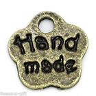 Gift Wholesale Charm Pendants Letters Carved Flower Bronze Tone 8mmx8mm
