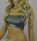 BOOB TUBE Top Shiny HOLO Black Silver Lycra Strapless Bandeau Clubwear Party H23