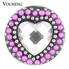 20PCS/Lot Vocheng 3 Colors Heart Chunk Button 18mm Snap Charm Vn-1113*20
