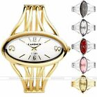 Women Chic Stylish Oval Gold Wire Bangle Cuff Analog Quartz Bracelet Wrist Watch