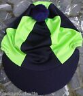 Riding Hat Skull cap Cover NAVY BLUE & LIME GREEN with or w/o POMPOM