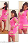 Women Celeb Hot Pink  Panelled Party Evening Summer Ladies Dress