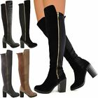WOMENS LADIES CHUNKY HEEL OVER THE KNEE THIGH HIGH WINTER BOOTS STRETCH WIDE LEG