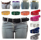 NEW Women's Thick Wide Bonded Leather Belt w/ Removable Silver Buckle 11 Colors!