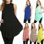 High Neck Swing Trapeze Sleeveless Long Length Knit Tunic Top 6 COLORS!  S-XL