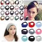 Womens Floral Yoga Twisted Knotted or Solid Elastic Turban Hair Band Headband