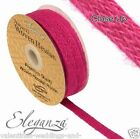 Full Roll Natural Woven Hessian Ribbon 10m - Fuchsia Pink Craft Vintage Wedding