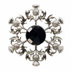 Heritage Of Scotland Thistle Brooch With Square Pattern Stone