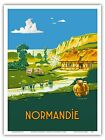Normandy France Summer Countryside Vintage Railway Travel Art Poster Print