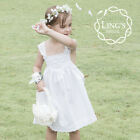 White Flower Girl Dress Cotton Lace Trim Formal Wedding Pageant Size 4 6 8 10 12