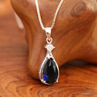 925 Sterling Silver Blue CZ Teardrop Pendnat Necklace Handcrafted With Gift Box