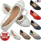 Внешний вид - New Womens Cute Lace Crochet Ballet Flat Comfy Slip On Loafers Ballerina Shoes