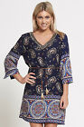 Ladies 3/4 sleeve beaded v neck paisley floral print shirt dress bohemian short