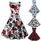 Women Vintage 1950's Floral Spring Hepburn Style Garden Party Dress FMYT
