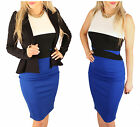 New Womens White Black Blue Bodycon Dress Size 8-14 - Great for Office Work