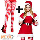 Mrs Santa Claus + Tights Ladies Fancy Dress Christmas Adults Womens Costume New