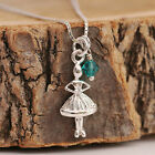 925 Sterling Silver Ballerina Pendant Necklace &Personalised Birthstone Gift Box