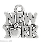 "Gift Wholesale Charm Pendants ""New York"" Apple Silver Tone 14x15mm(4/8""x5/8"")"