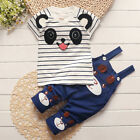 2pcs cotton baby boys girls summer clothes T shirt + suspenders outfits panda