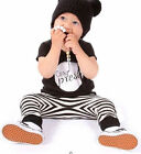 2pcs Toddler Baby Boy Kids Short Sleeve T-shirt Top+Striped Pants Outfit Clothes