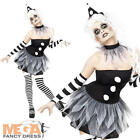 Pierrot Jester Clown Ladies Halloween Fancy Dress Womens Adults Circus Costume