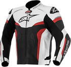 Alpinestars Mens Black/White/Red Celer Leather Race Riding Motorcycle Jacket