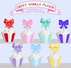 Ribbon pastel rainbow bows spots baby Birthday Party Cupcake Toppers Cup cake