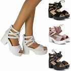 WOMENS LACE UP BLOCK MID HEEL SANDAL LADIES PLATFORM GLADIATOR SHOES SIZE UK NEW