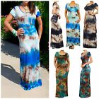 BOHO TIE DYE OMBRE SHORT SLEEVE MAXI DRESS PLUS AND REGULAR 5 COLORS by MOJO USA