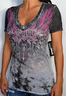 Sinful by Affliction - MYSTIQUE - Woman's V-Neck Burnout T-Shirt - S2985 - NEW