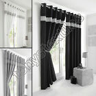 FULLY LINED PAIR EYELET DIAMANTE RING TOP READY MADE CURTAINS BLACK SILVER WHITE