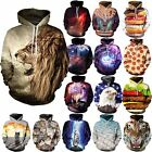Cool 3D Galaxy Animal Mens Womans Hiphop Hooded Sweatshirt Top T-shirt Jumpers