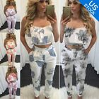 Women Two Pieces Oufit Set Floral Crop Top Bodycon Trousers Jumpsuit Playsuit