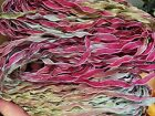 """Vintage Curly Ribbon Hand Dyed 1/4"""" Rayon White Edge 3yds Made in USA"""