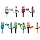 3in1 Type-C IP5 Micro USB Flat Sync Charging Cable Adapter Phone Charger Cord