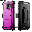 For Samsung Galaxy S7/S7 Edge Rugged Hybrid Hard Case Cover + Belt Clip Holster